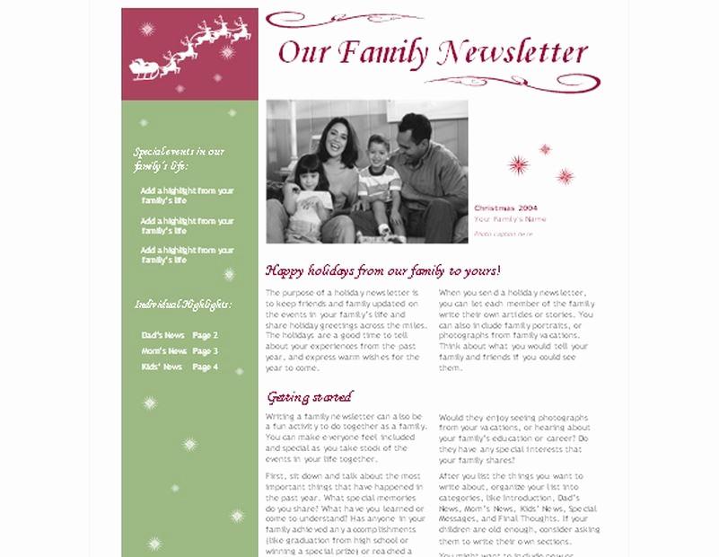 Christmas Family Newsletter Templates Free Beautiful Christmas Newsletter Template