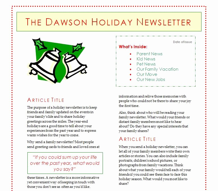 Christmas Family Newsletter Templates Free Beautiful Holiday Newsletter Template