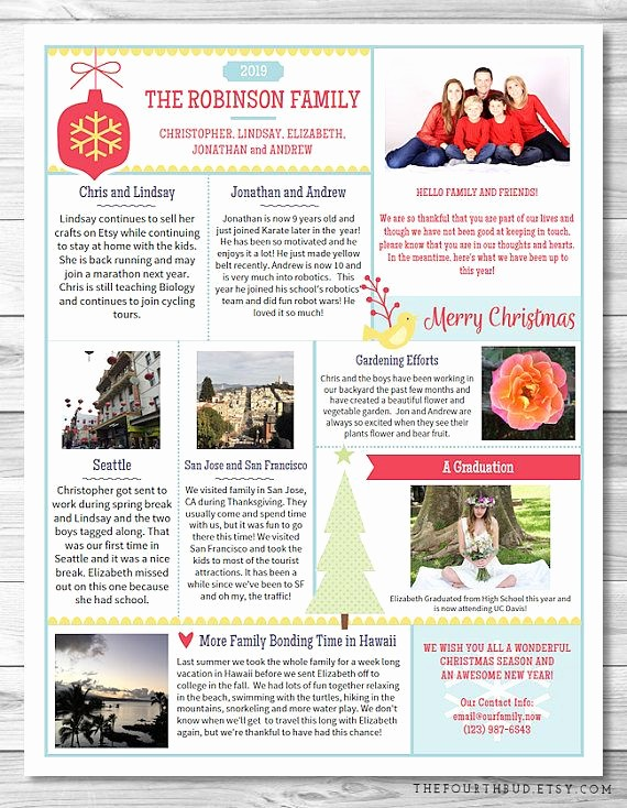 Christmas Family Newsletter Templates Free Inspirational 40 Best Christmas Newsletter and Year In Review Templates