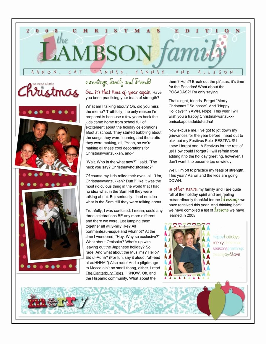 Christmas Family Newsletter Templates Free Inspirational Christmas Family Newsletter