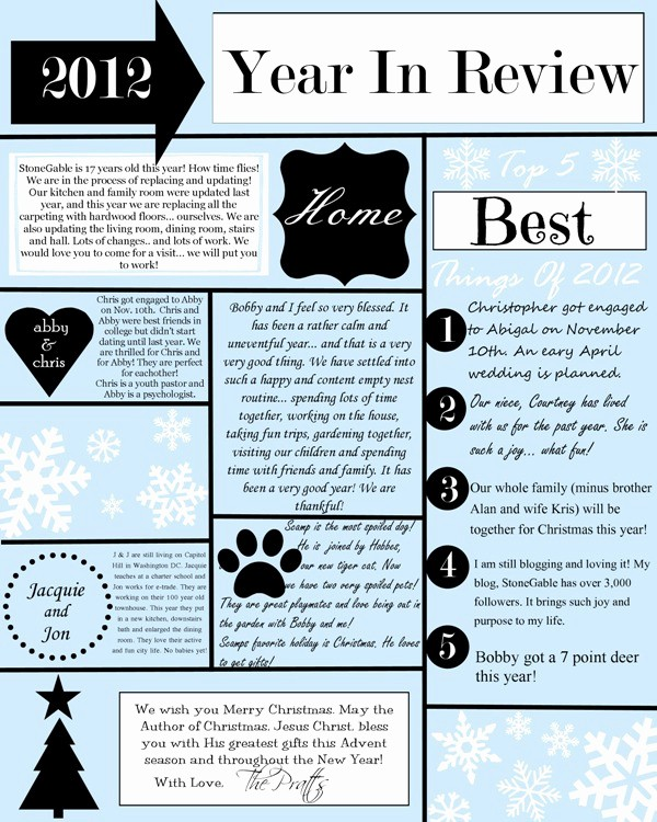 Christmas Family Newsletter Templates Free Lovely A Year In Review Christmas Letter and Template Stonegable