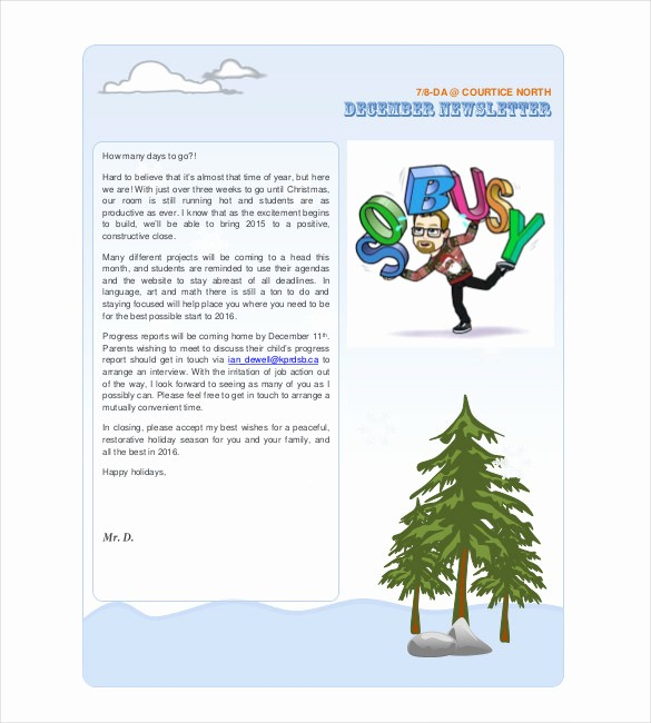 Christmas Family Newsletter Templates Free New 14 Holiday Newsletter Template – Free Sample Example