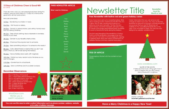 Christmas Family Newsletter Templates Free New 9 Christmas Newsletter Templates to Create Printable and