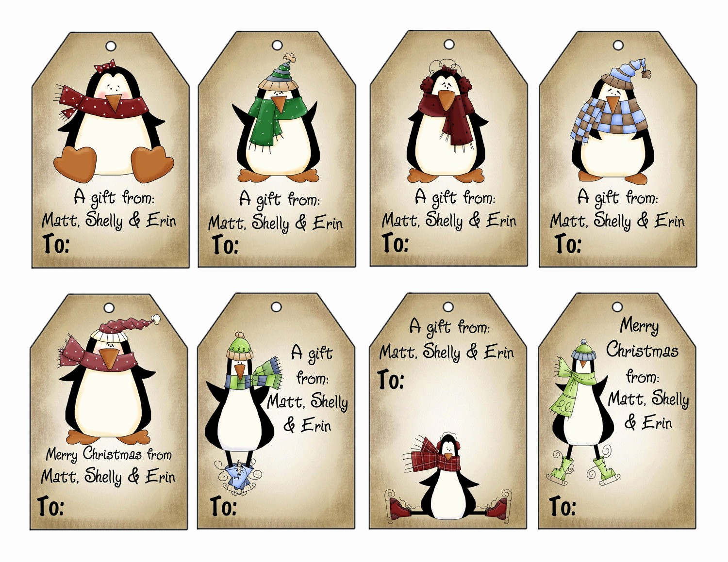 Christmas Gift Tags Template Free Best Of Printable Personalized Winter Penguins Christmas T Tag Set