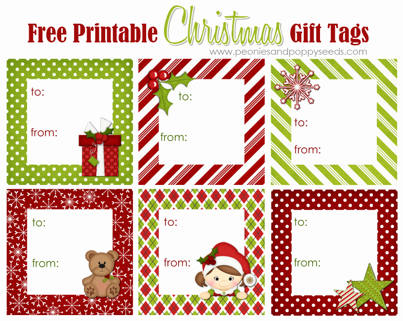 Christmas Gift Tags Template Free Elegant Peonies and Poppyseeds