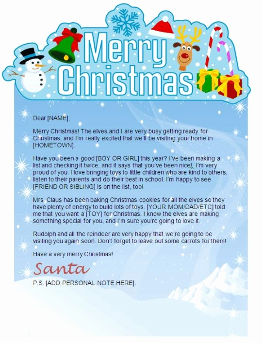 Christmas Letter Template with Photos Fresh A Cute Ms Word Santa Letter Template From Christmas Letter