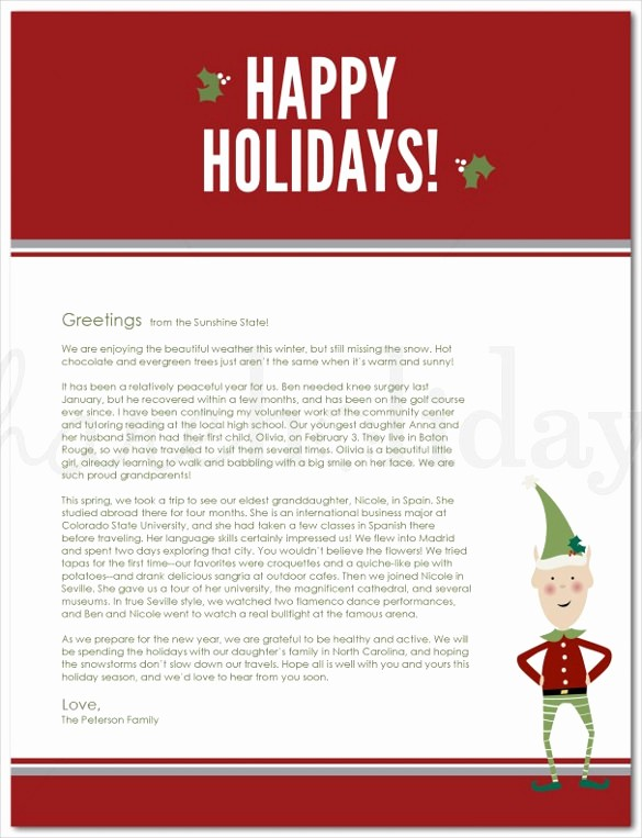 Christmas Letter Template with Photos Inspirational 23 Holiday Letter Templates – Free Sample Example format