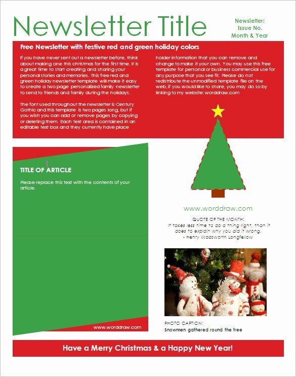 Christmas Letter Template with Photos Lovely 27 Microsoft Newsletter Templates Doc Pdf Psd Ai