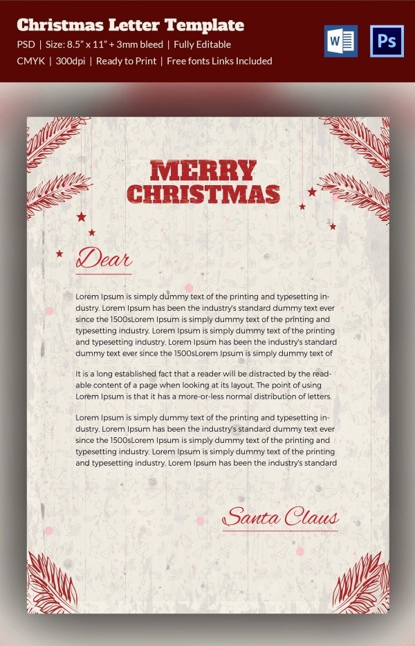 Christmas Letter Template with Photos New 10 Christmas Letterheads Word Psd format Download