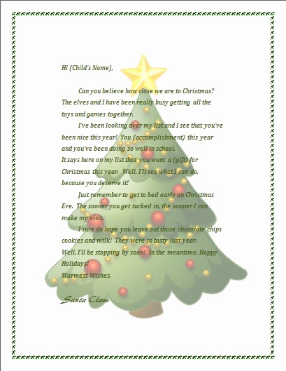 Christmas Letter Template with Photos New Printable Letter From Santa