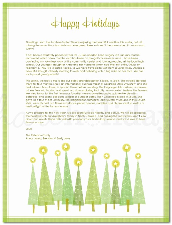 Christmas Letter Template with Photos Unique Holiday Letter Template – 16 Free Word Pdf Psd format