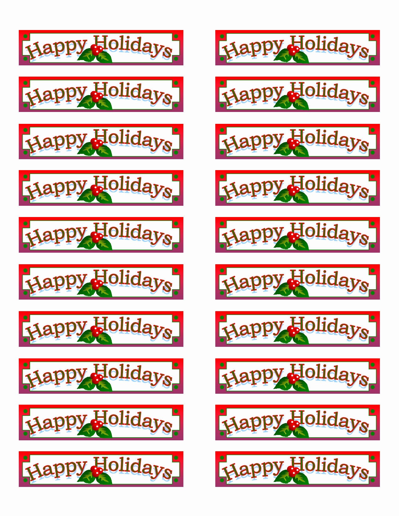 Christmas Mailing Labels Template Free Luxury 7 Best Of Printable Christmas Labels Avery Free