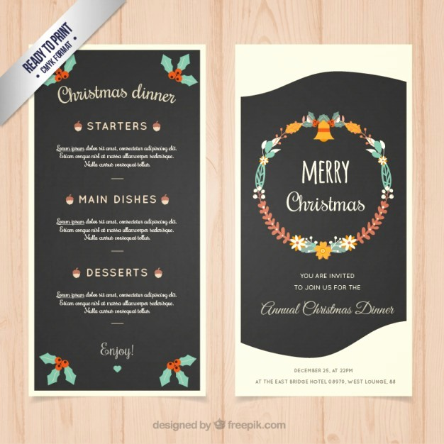 Christmas Menu Templates Free Download Awesome Christmas Dinner Menu Template Vector