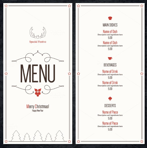 Christmas Menu Templates Free Download Awesome Christmas Menu Template 16 Free Psd Eps Ai