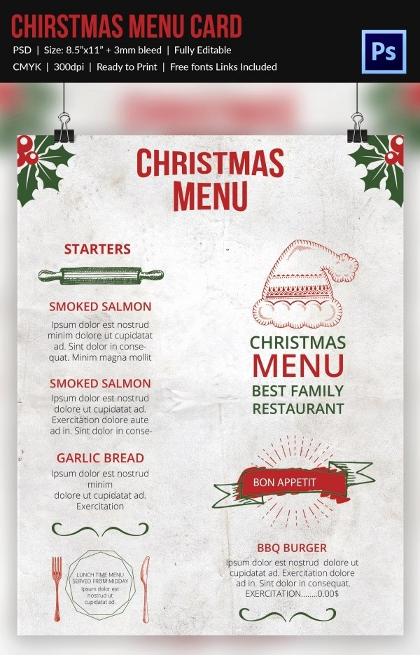 Christmas Menu Templates Free Download Awesome Christmas Menu Template 37 Free Psd Eps Ai