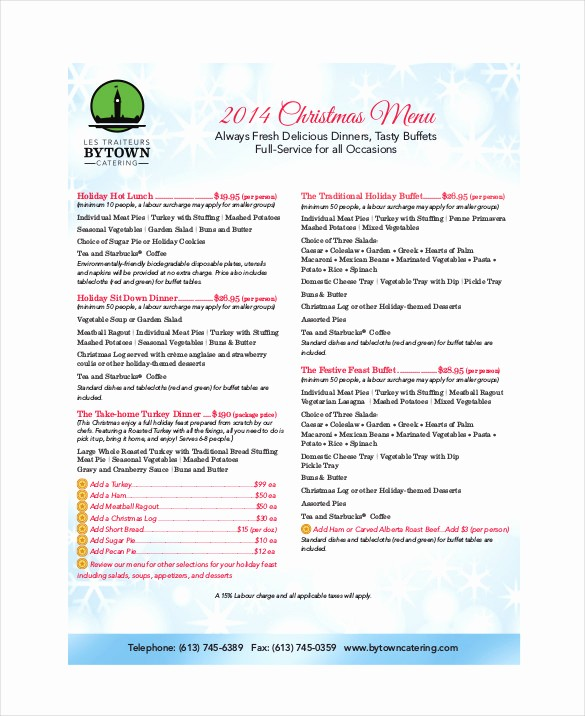 Christmas Menu Templates Free Download Awesome Holiday Menu Template – 25 Free Pdf Eps Psd format