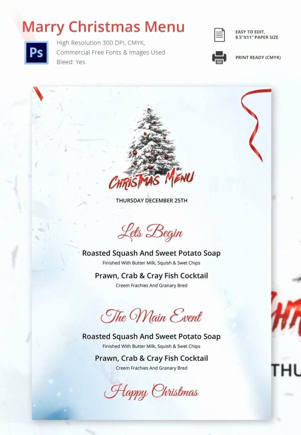 Christmas Menu Templates Free Download Elegant 35 Christmas Menu Template Free Sample Example format
