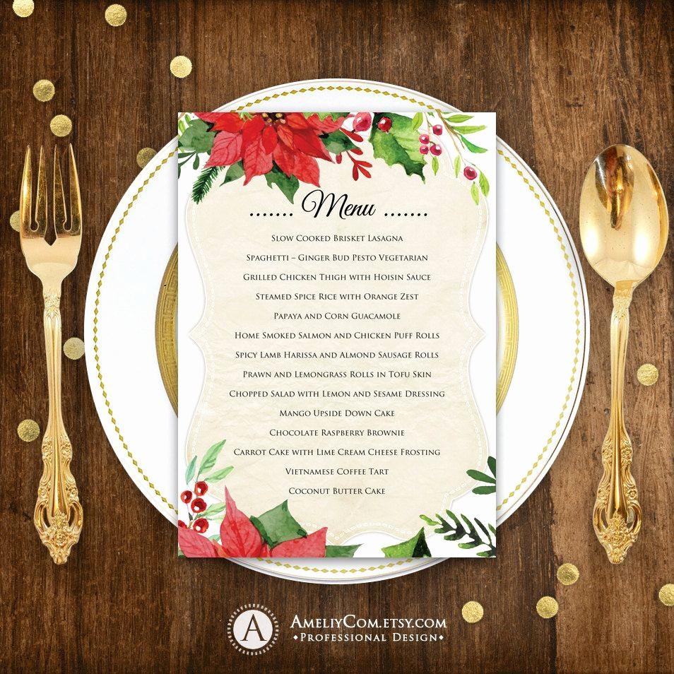 Christmas Menu Templates Free Download Inspirational Christmas Menu Printable Dinner Menu Rustic Christmas