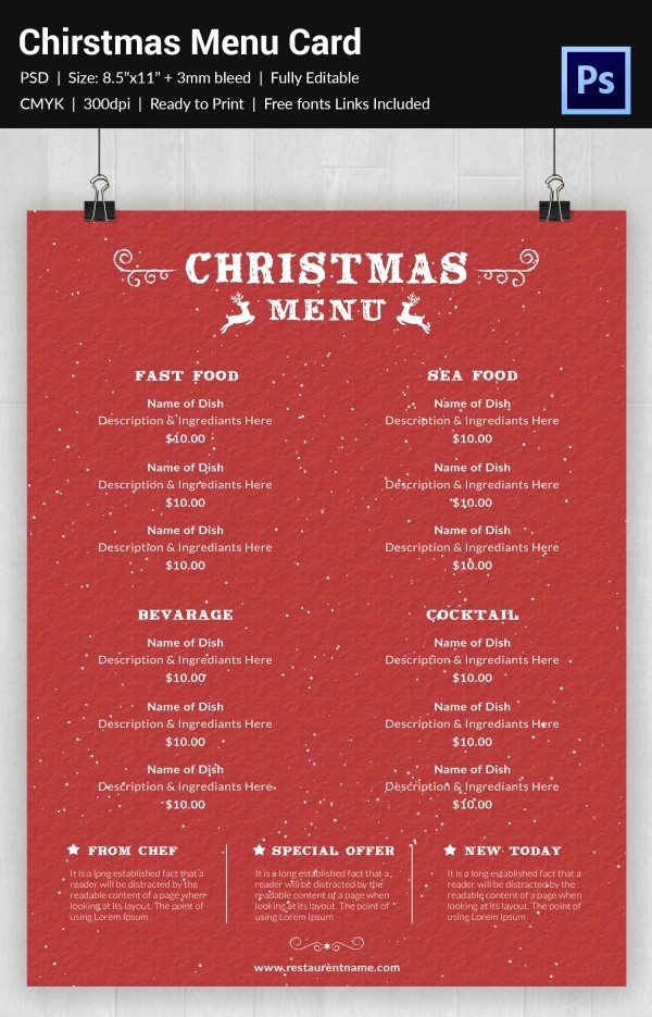 Christmas Menu Templates Free Download Lovely Christmas Menu Template 37 Free Psd Eps Ai