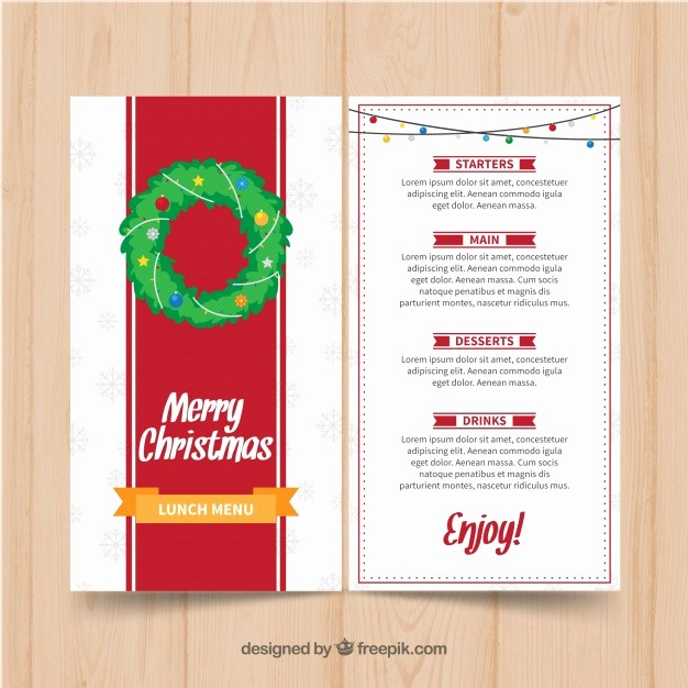 Christmas Menu Templates Free Download Lovely Christmas Menu Template Vector