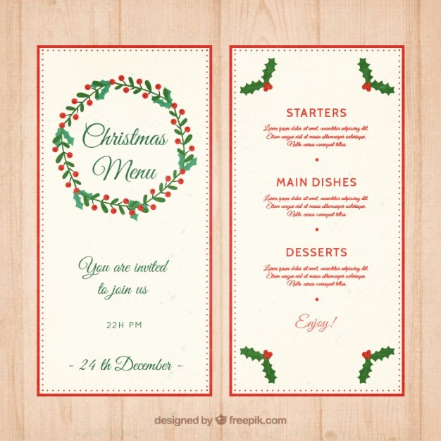 Christmas Menu Templates Free Download Lovely Christmas Menu Template with Mistletoe Decoration Vector