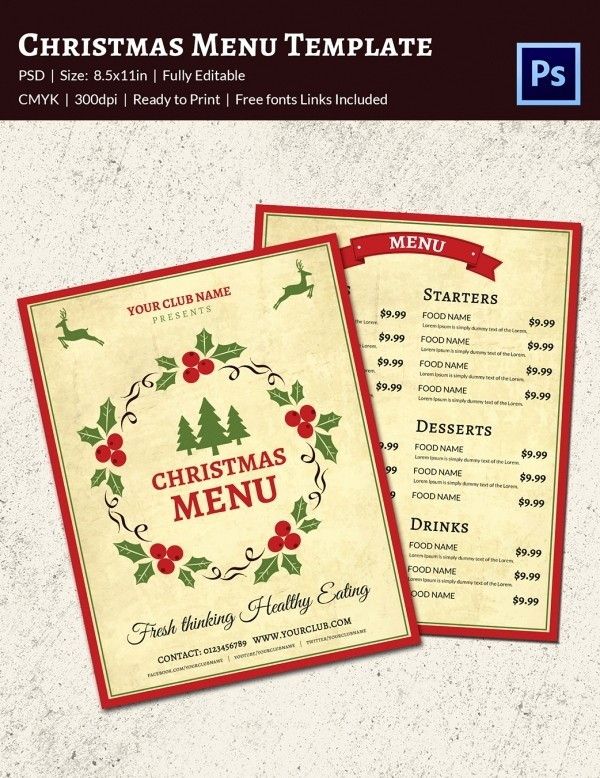 Christmas Menu Templates Free Download Luxury 35 Christmas Menu Template Free Sample Example format