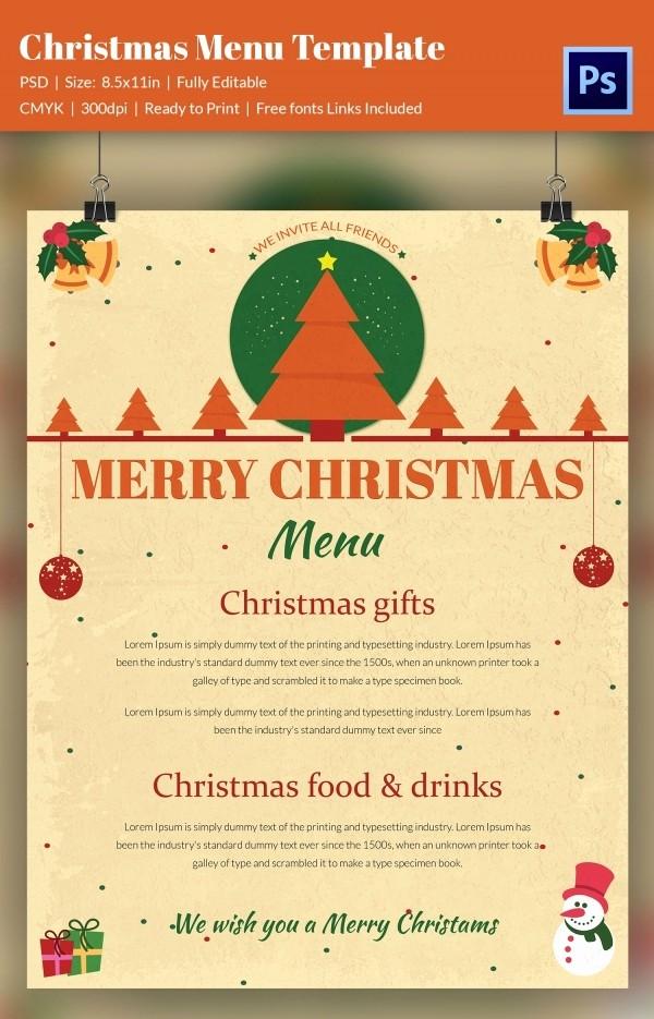 Christmas Menu Templates Free Download Luxury 35 Christmas Menu Template Free Sample Example format
