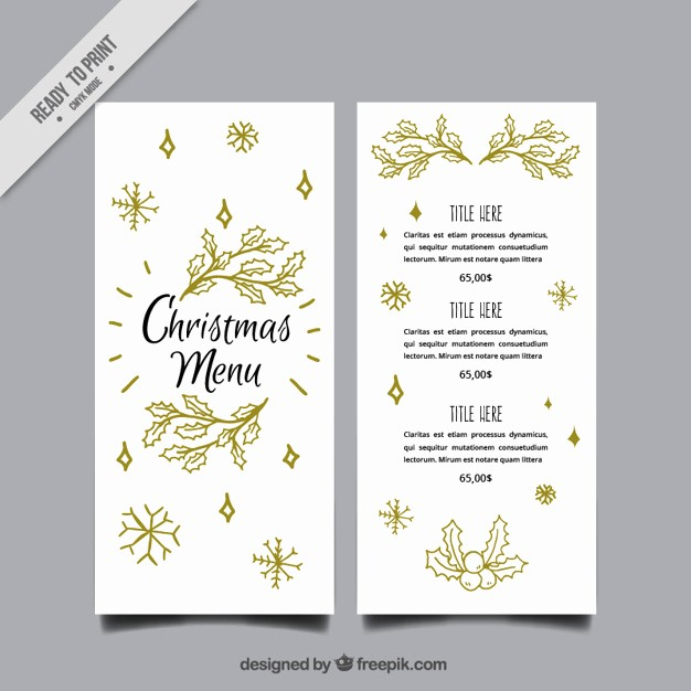 Christmas Menu Templates Free Download Luxury Elegant Christmas Menu Template with Leaves Sketches