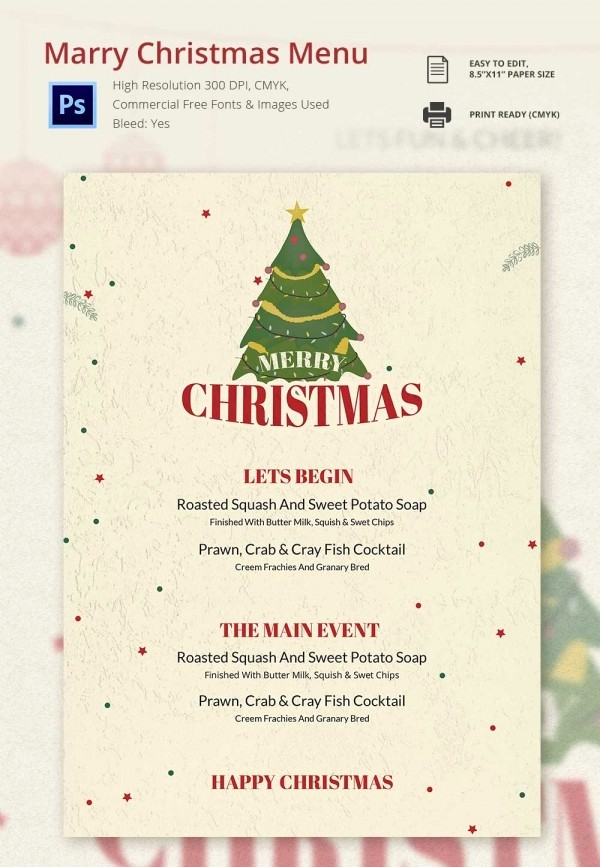 Christmas Menu Templates Free Download New 35 Christmas Menu Template Free Sample Example format