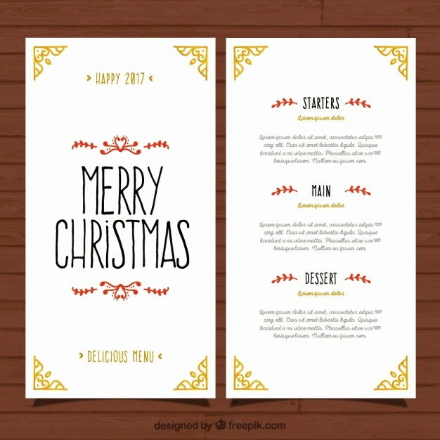 Christmas Menu Templates Free Download New Pretty and Elegant Christmas Menu Template Vector
