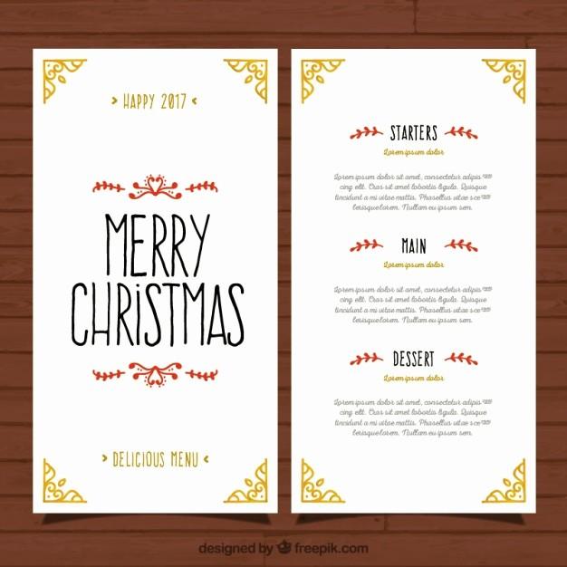 Christmas Menu Templates Free Download New Pretty and Elegant Christmas Menu Template Vector