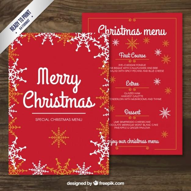 Christmas Menu Templates Free Download Unique Red Merry Christmas Menu Template Vector