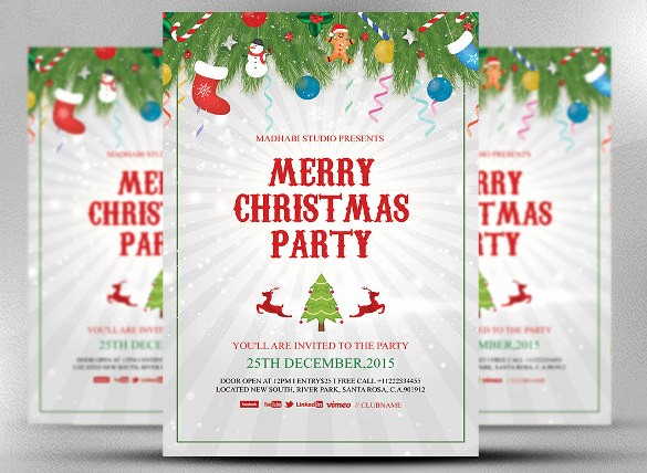 Christmas Party Invitation Free Template Awesome 20 Christmas Invitation Templates Free Sample Example