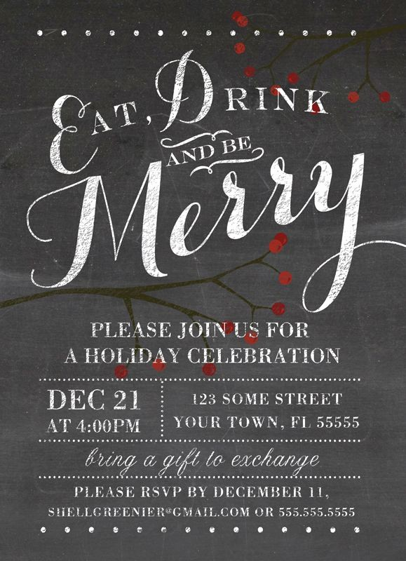 Christmas Party Invitation Free Template Beautiful Christmas Invitation Template Winter Chalkboard Holiday