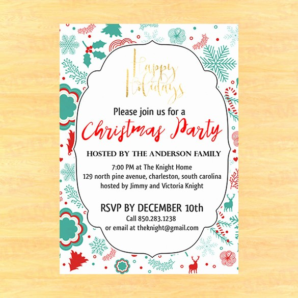 Christmas Party Invitations Free Template Awesome 20 Christmas Invitation Templates Free Sample Example