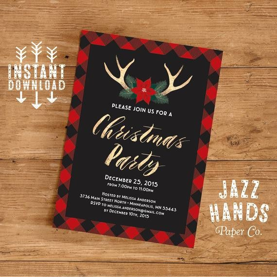 Christmas Party Invitations Free Template Elegant Christmas Party Invitation Template Diy Printable Holiday