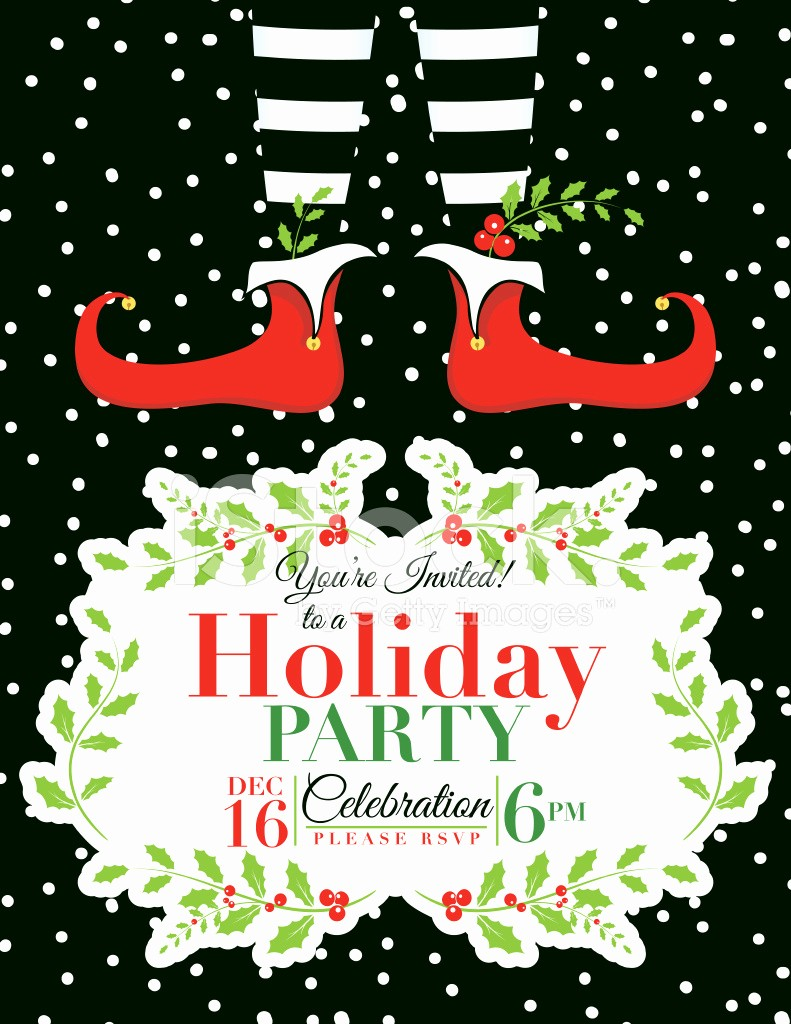 Christmas Party Invitations Free Template Elegant Elf Christmas Party Invitation Template Stock Vector