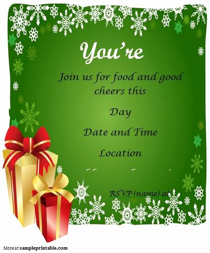 Christmas Party Invitations Free Template Fresh 7 Best Of Christmas Party Free Printable Template