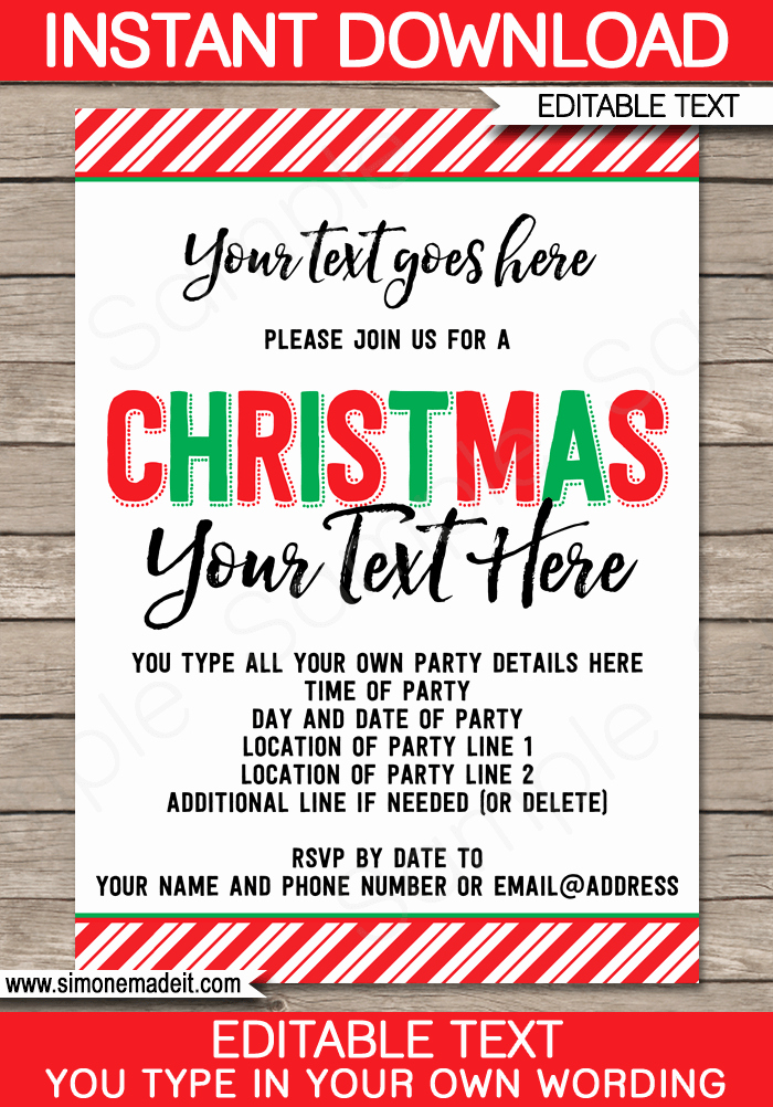 Christmas Party Invitations Free Template Fresh Printable Christmas Party Invitations
