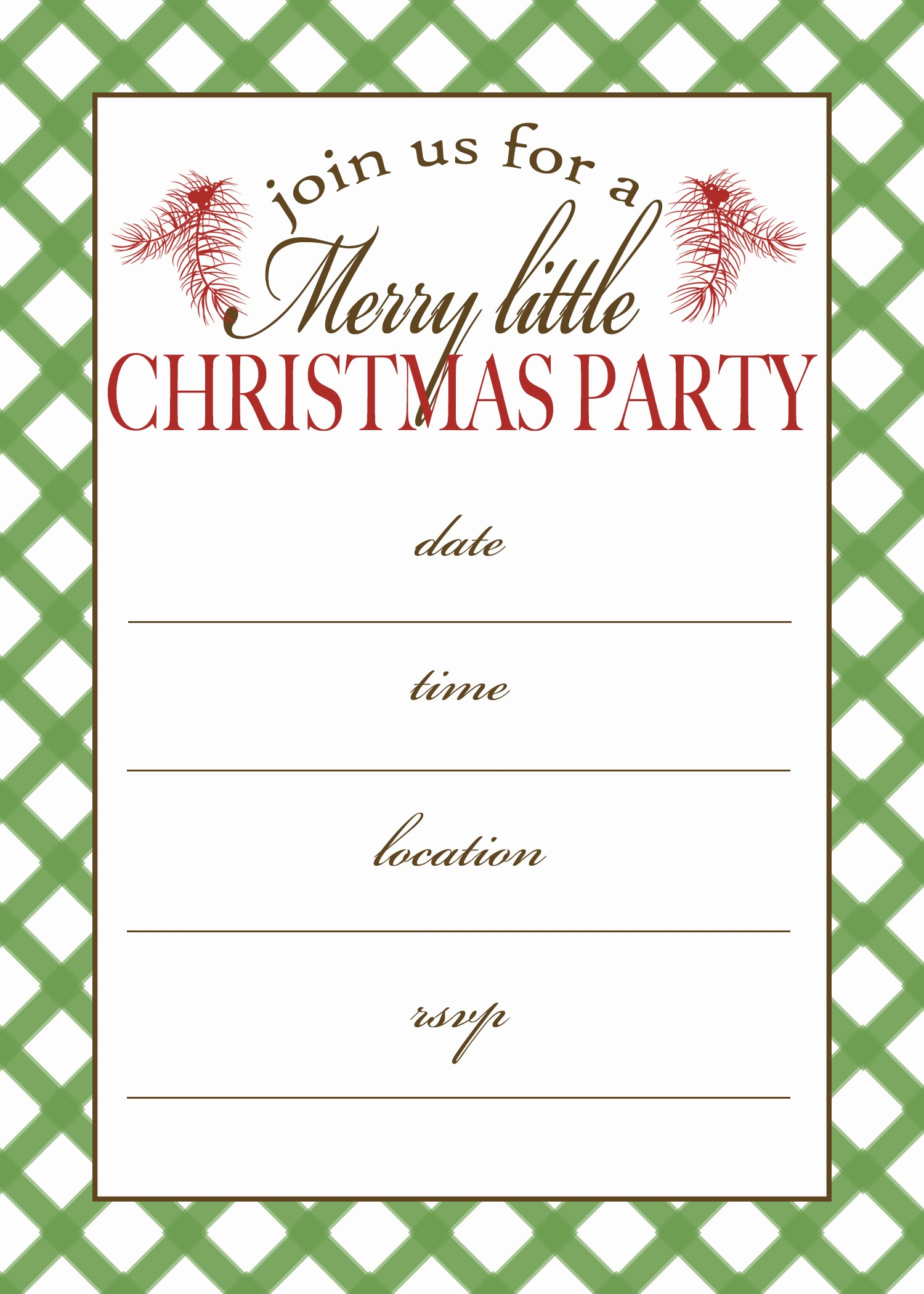 Christmas Party Invitations Free Template Luxury 7 Best Of Free Printable Christmas Invitation