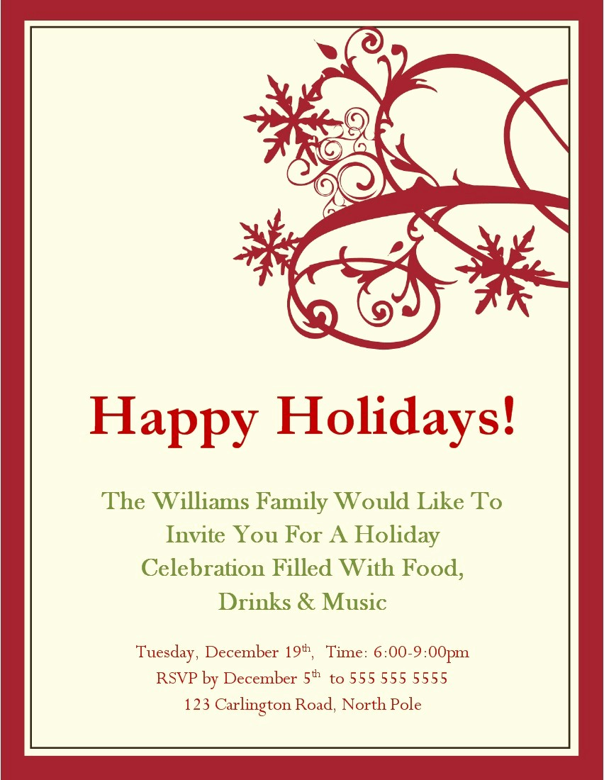 Christmas Party Invitations Free Template Luxury Free Christmas Party Invitation Templates Word