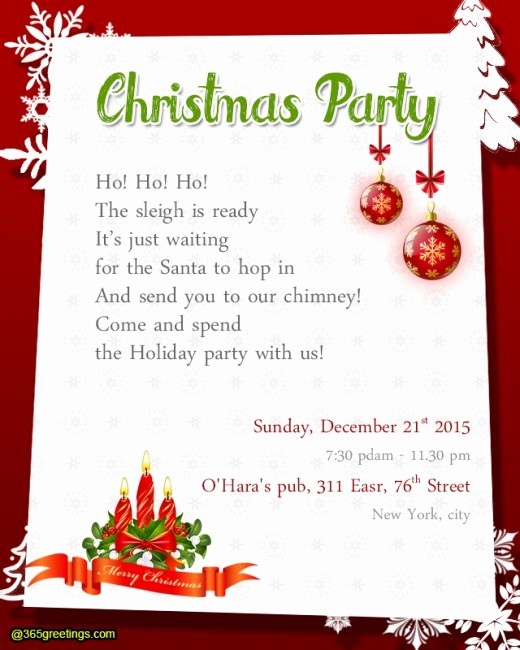 Christmas Party Invite Free Template Beautiful Christmas Party Invitation Wording 365greetings