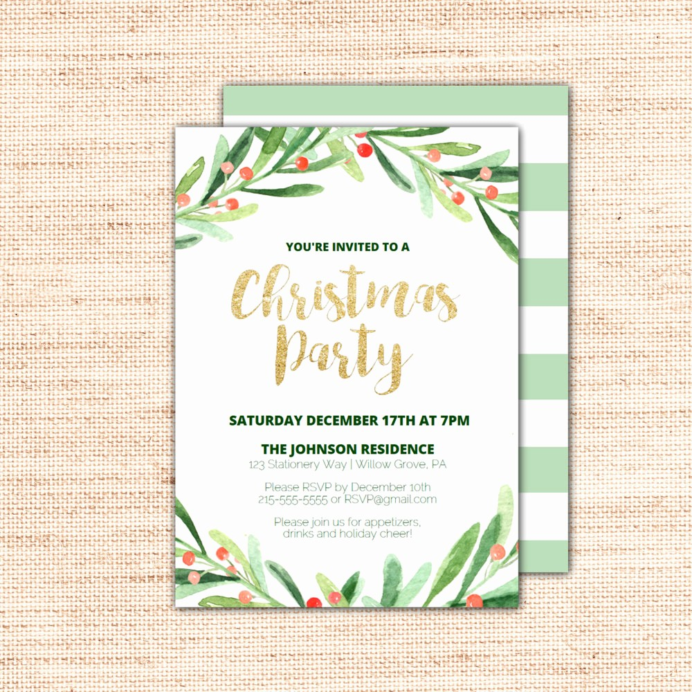 Christmas Party Invite Free Template New Holly Wreath Printable Christmas Party Invitation Template