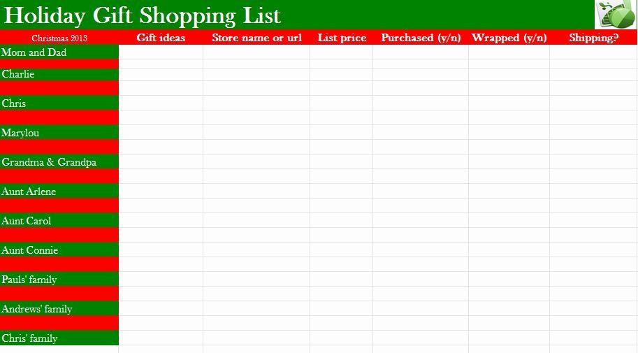 Christmas Shopping List Template Printable Awesome Christmas List Template