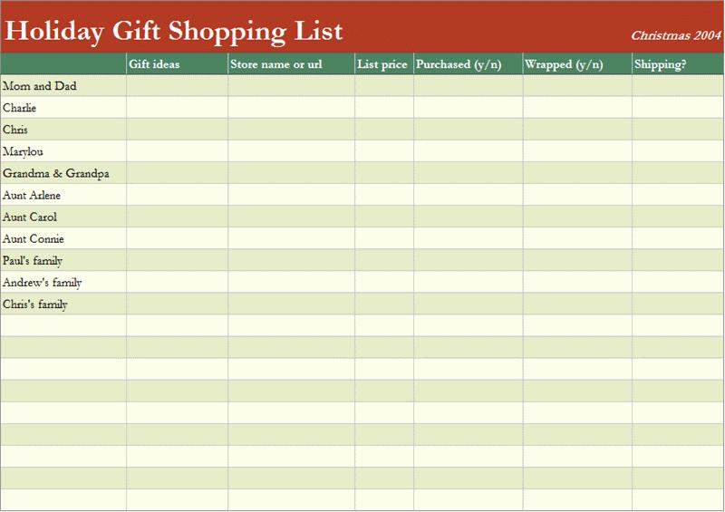 Christmas Shopping List Template Printable Beautiful 7 Shopping List Templates