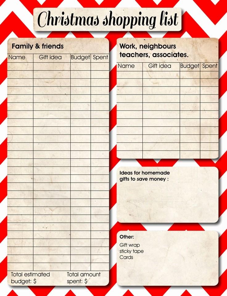 Christmas Shopping List Template Printable Elegant 5 Best Of Free Printable Christmas organization