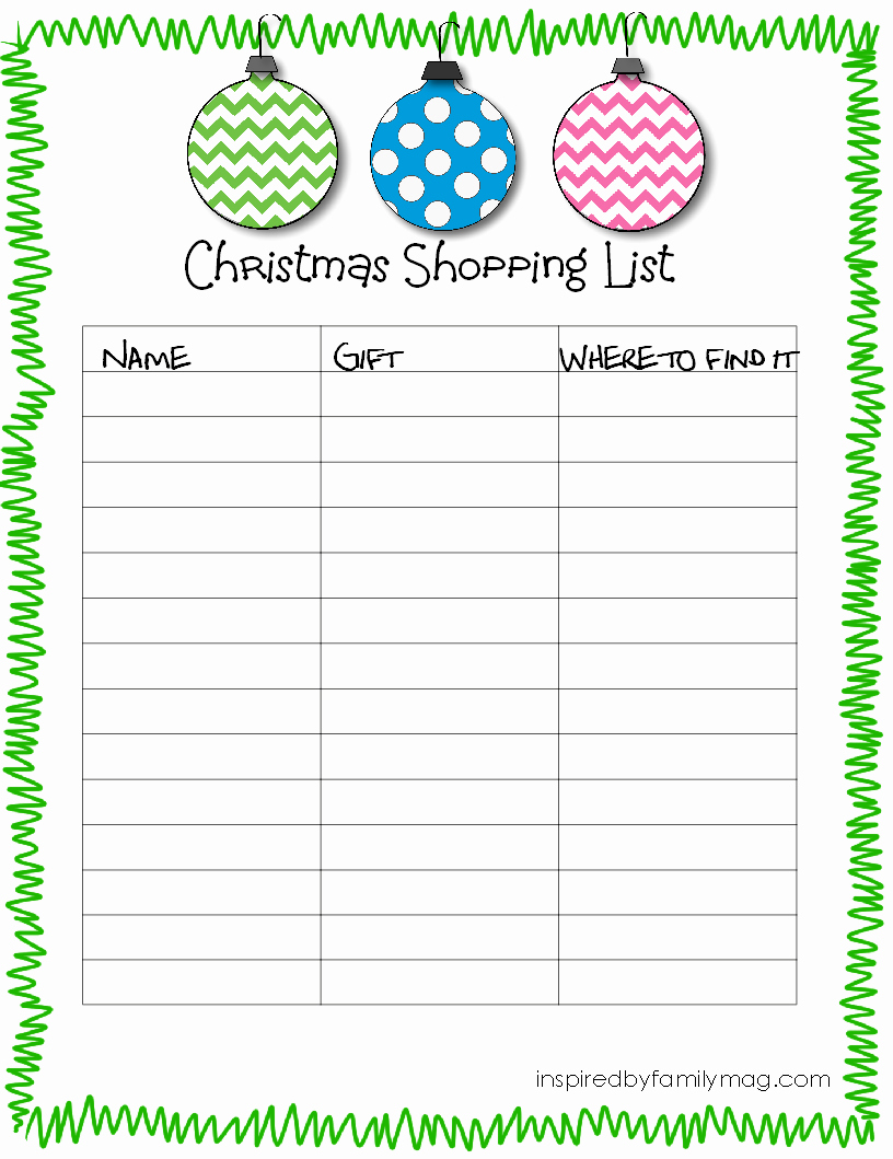 Christmas Shopping List Template Printable Elegant 7 Best Of Printable Christmas List Christmas