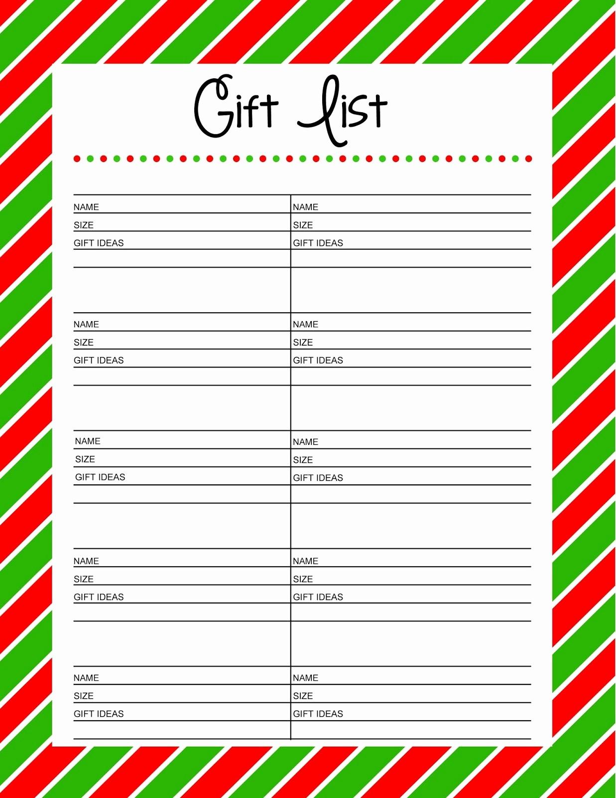 Christmas Shopping List Template Printable Inspirational Christmas Gift List Printable Search Results