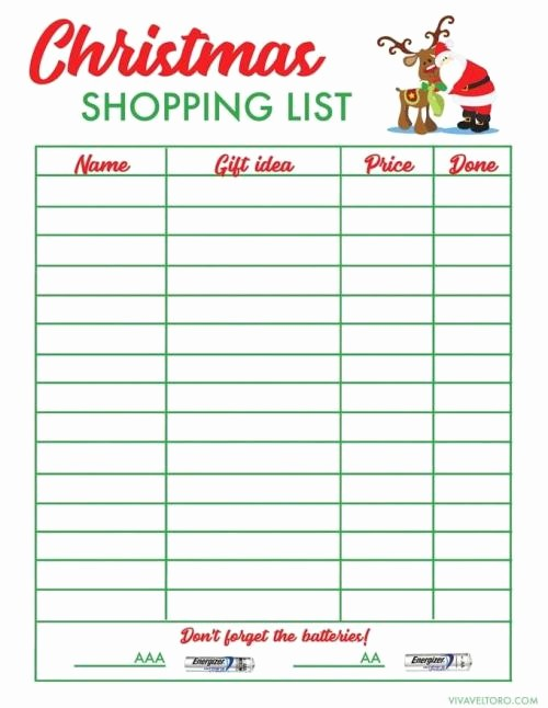 Christmas Shopping List Template Printable Inspirational Free Christmas Shopping List Template Viva Veltoro