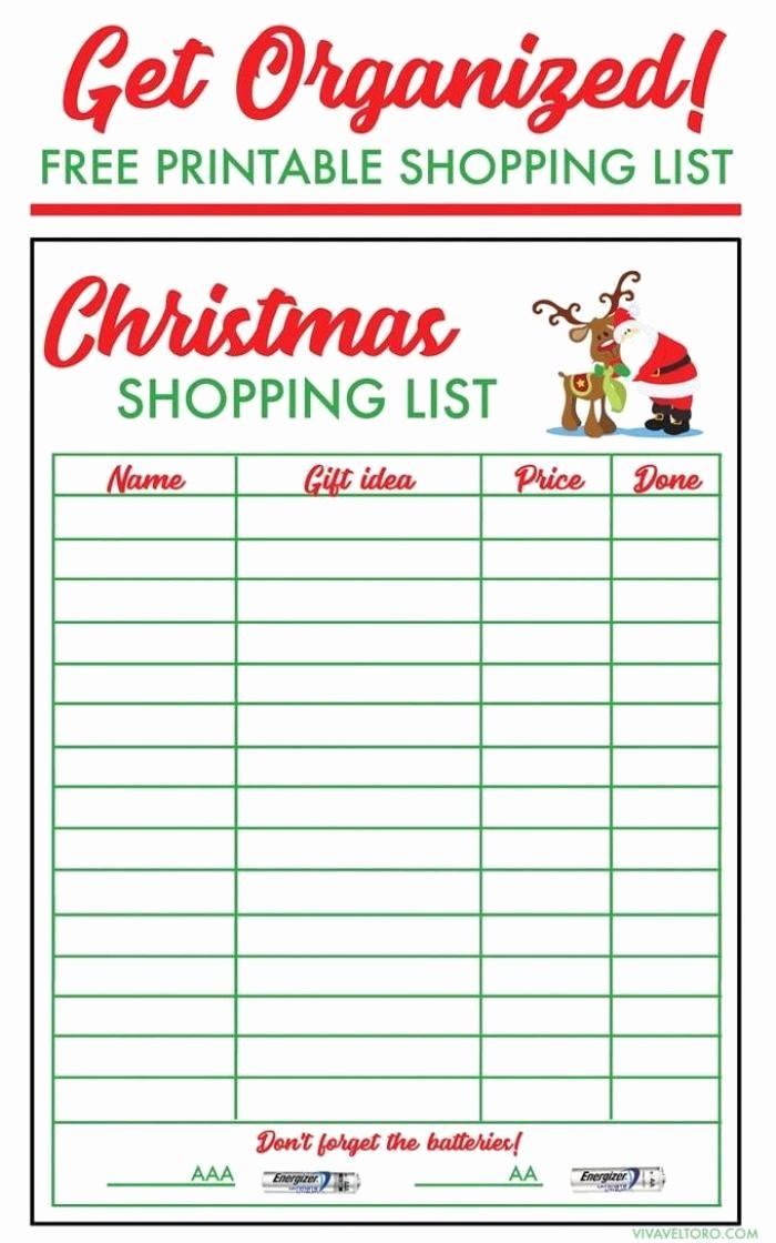 Christmas Shopping List Template Printable Inspirational Free Christmas Shopping List Template Viva Veltoro